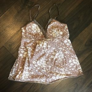 TAUPE AMBIENCE APPAREL FLOWER TANK TOP